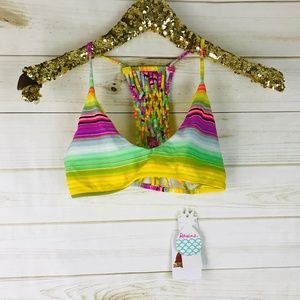 Raisins Yellow Macrame Weave Swimsuit Bra
